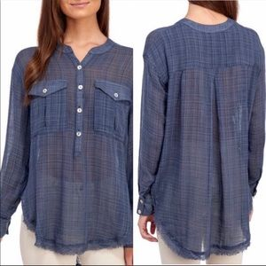 Free People Plaid Gauze Popover Blouse Size Small